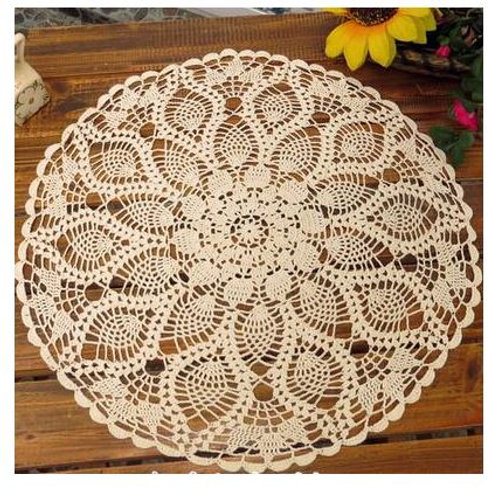 Vintage Round Tablecloth Cotton White Feather Hand Crochet Doilies Wedding Event