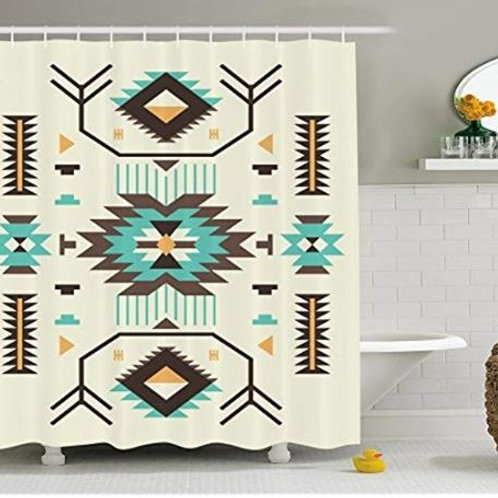 Southwestern Shower Curtain Ethnic Pattern from Ancient Aztec Culture with Indig