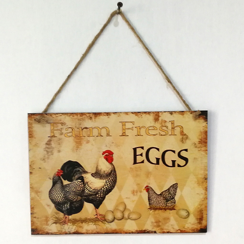 Vintage Cock Farm Fresh Eggs Letter Wooden Plaque Wooden Signs Wall Decor