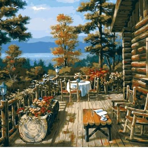 HQ Digital Oil Paintings coloring By Numbers The jungle cabin rest room tables C