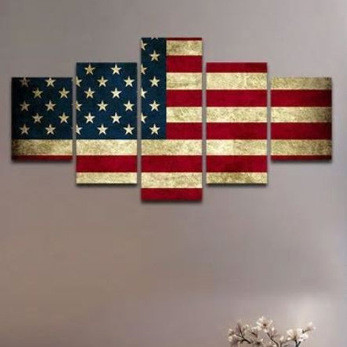 HD printed modular canvas painting Rustic American Flag canvas print home decor