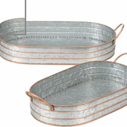 Oblong Galvanized Metal Trays