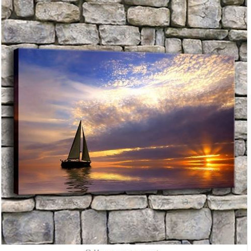Canvas Prints Pictures Home Decor 1 Piece Sailboat In Calm Sea At Sunset Paintin