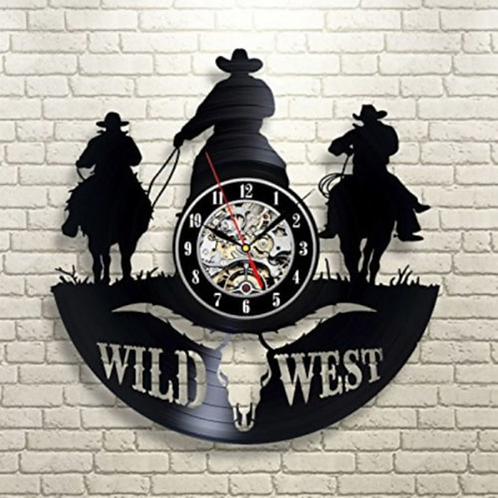 3D Wild West Vinyl Record Wall Clock Texas Cowboys CD Wall Clock Personalized