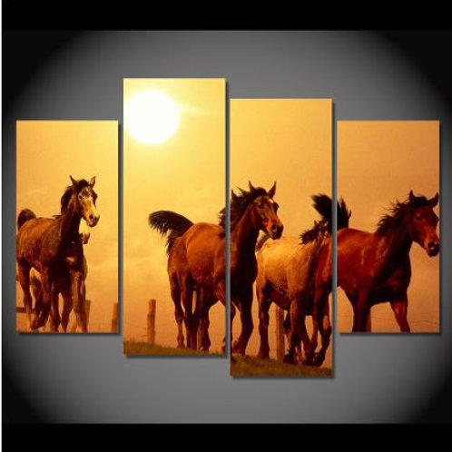 Modern Canvas Wall Art Frame Poster HD Printed Painting 4 Panels Animal Horses S