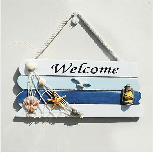 Vintage Nautical Style Welcome To my Home Wooden Poster Tin Sign Plate Wall Dec
