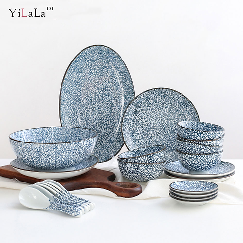 Yilala Ceramic Plate Sets 22 pieces Tableware Set Vintage Soup Rice Fish Dish