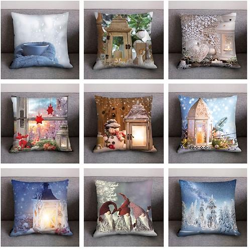 Christmas Cushion Cover Print Pillow Case Polyester Sofa Car Cushion Cover Home