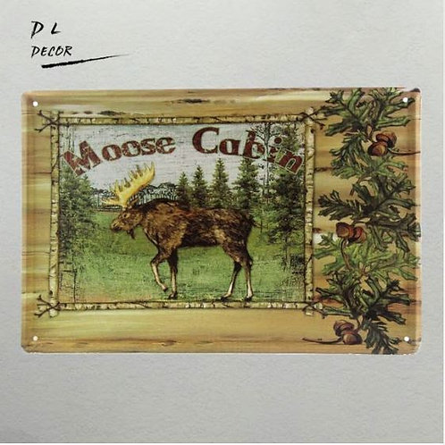 Tin signs Moose Cabin home decor Garage oil station poster 20*30CM
