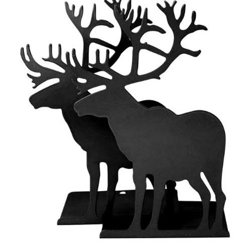 Non-skid Elk Bookends Art 1 Pair (Black) Deer Animal Metal Vintage Bookend Chris