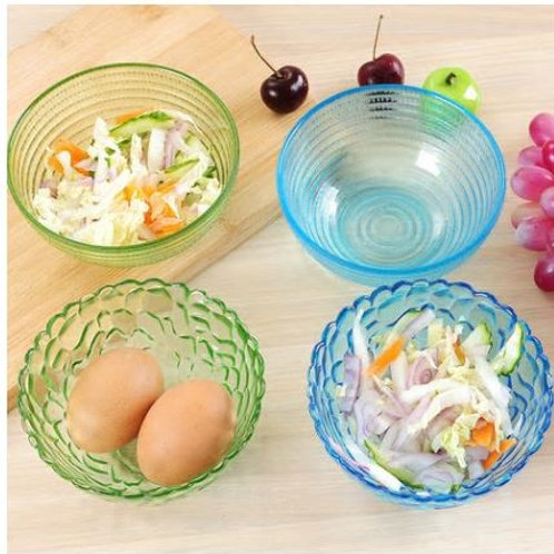 Diamond Crystal clear glass bowl of fruit salad sets utensils Food Container ric