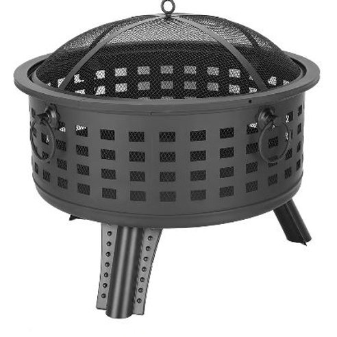 """26"""" Outdoor Brazier Fireplace Fire Pit Burner for Camping Hiking Round Fire Bowl"""