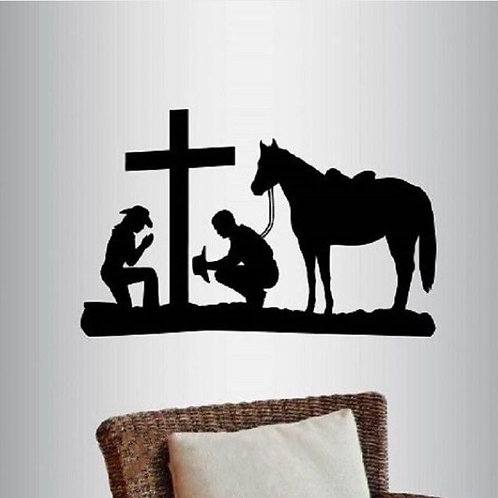 Vinyl Art Wall Sticker Cool Cowboy and Cowgirl Praying Kneeling Cross Horse West