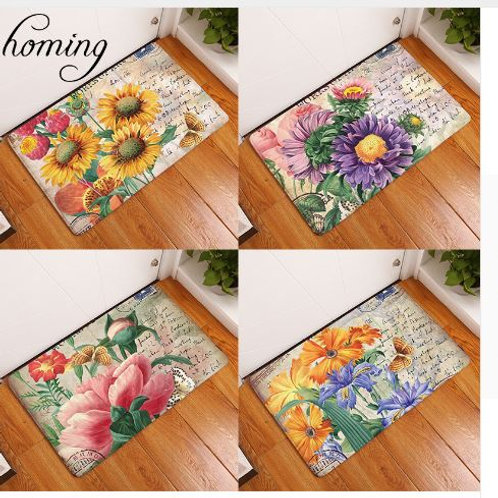 Homing Colorfast Decoration Stair Mats Vintage Stamp Beautiful Floral Sunflower