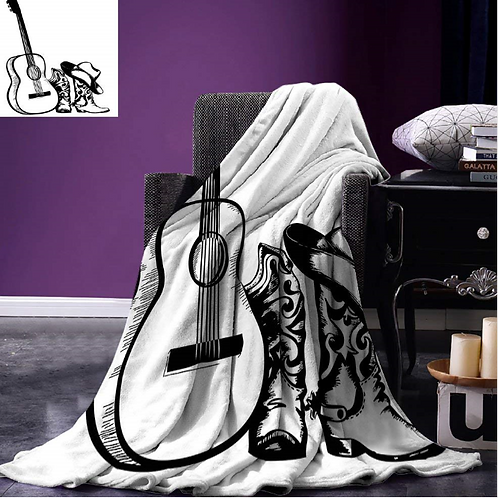 Western Throw Blanket Country Music Theme with Cowboy Shoes Hat and Guitar Instr