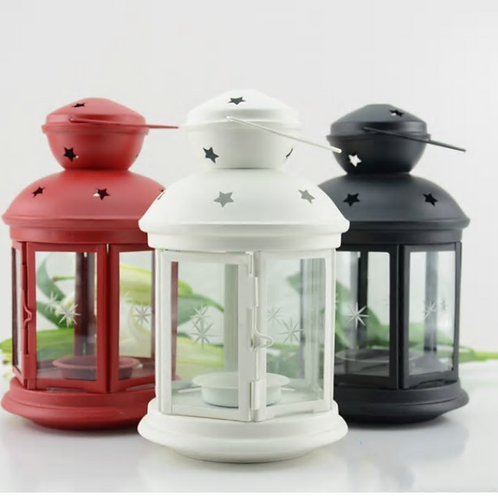 Jecengs - Brief Fashion Iron Candle Glass lantern Wine Bar Home Wedding Living D