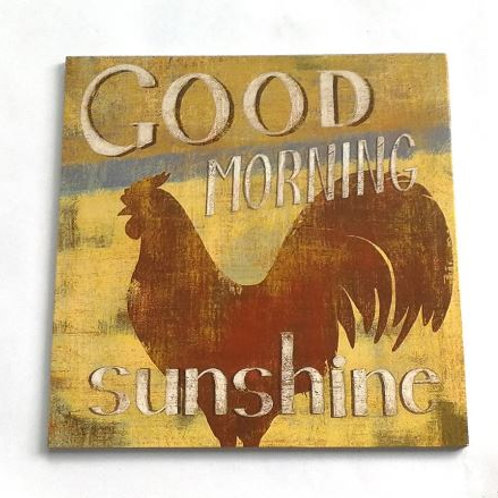 Retro Hen Good Morning Sunshine Letter Wooden Plaque Sign Wall Hanging Pendant W