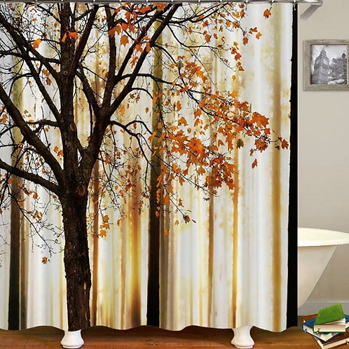 Fall Trees Print Polyester Abstract Tree Landscape Themed Bathroom Shower Curtai