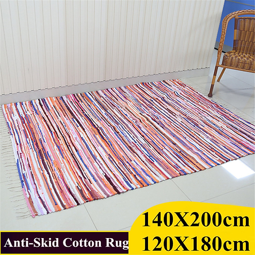 Striped Cotton Handmade Area Rug Blanket Dining Room Carpet Bedroom Floor Sofa