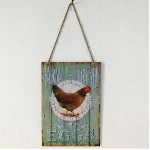 Wooden Retro Cock Farm Fresh Eggs Letter Plaque Wall Decor Hanging Pendant Sign