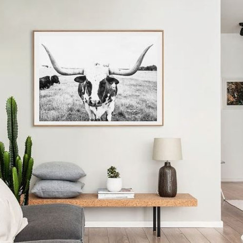 Longhorn Cattle Art Canvas Painting Wall Picture Farm Animal Cow Canvas Art Prin