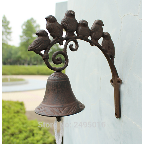 Iron Door bell, Rustic Birds Door Chime, Wall Mounted Front Door Bell