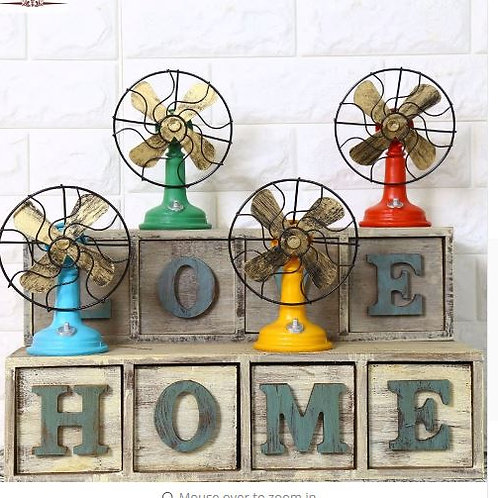 Shabby Chic Fan Model Vintage Home Decor Resin Crafts Retro Home Decoration Acce