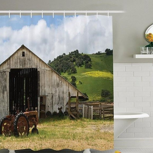 Farm House Decor Collection, Old Wooden Barn with Rusted Tractor on Hillside Enc