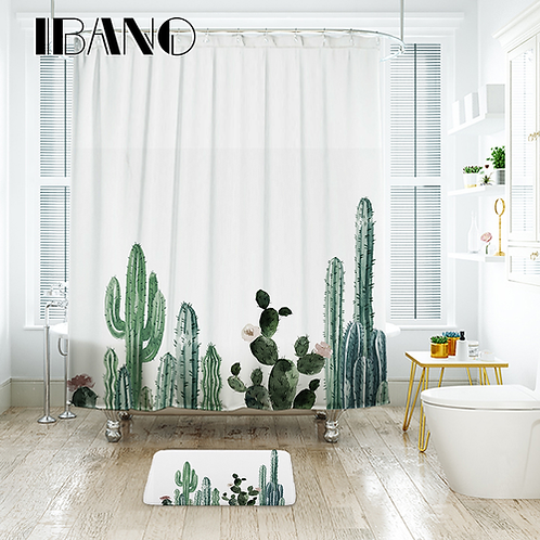 IBANO Tropical Cactus Shower Curtain Waterproof Polyester Fabric Bath Curtain