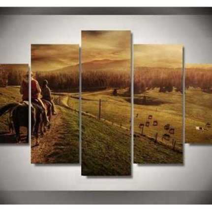 Hd Printed Jungle Ranch Group Painting Canvas Print Room Decor Print Poster Pict