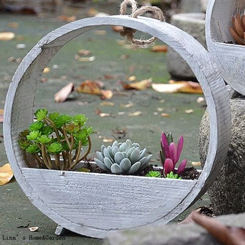 Succulent Vintage Handmade Solid Hanging Wooden Planters