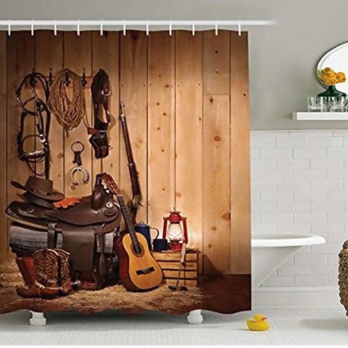 Vixm Western Decor Shower Curtain by American Texas Country Music Guitar Cowboy