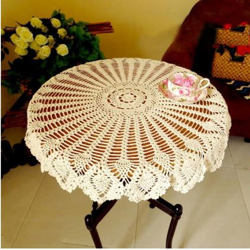 70/80/90CM Table Cover Shabby Chic Vintage Crocheted Tablecloth Handmade Crochet