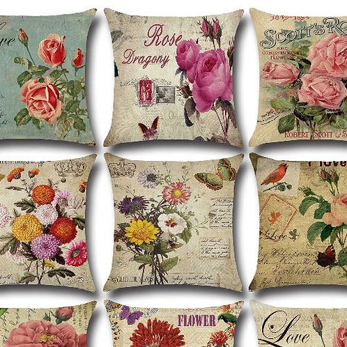 American Country Rose Flowers Prints 45*45cm Cushion Cover Linen Throw Pillow Ca