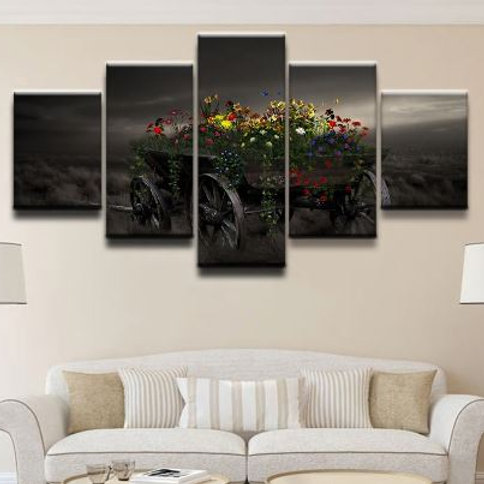 Modern Wall Art Pictures Printed 5 Pieces Artistic Butterfly Colorful Field Flow