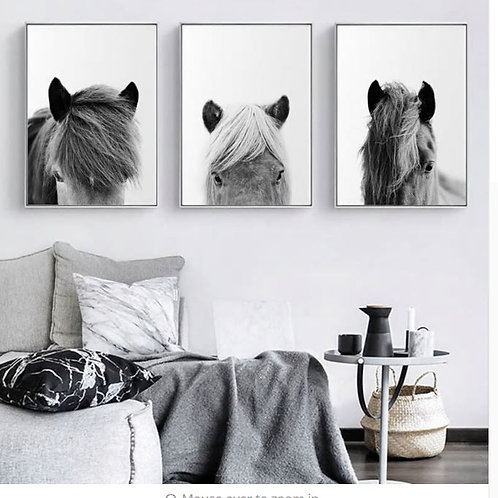 Minimalist Wall Art Canvas Icelandic Horse Posters Black White Prints Farmhouse