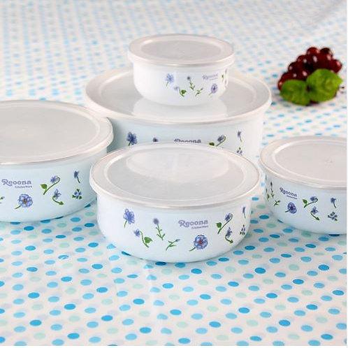 5 pieces/set Classic White Enamel Dessert Bowls Soup Pots Salad Bowl Food bowl w