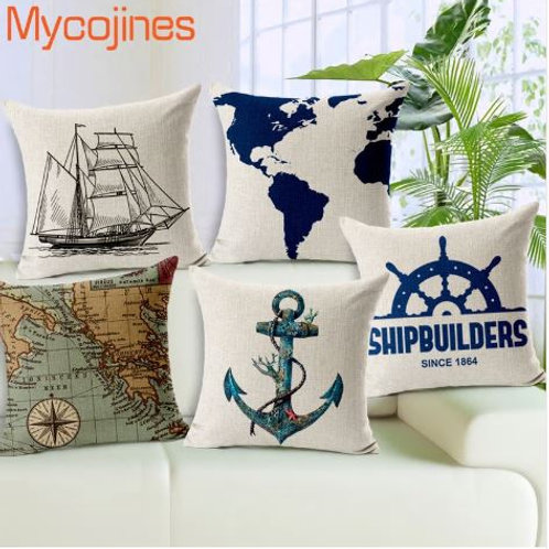 Sea Style Decorative Pillows Nautical Anchor Sailing Boat Map Linen Cushion Cove