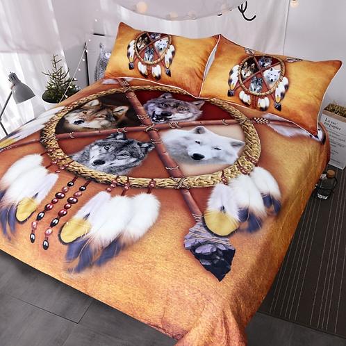 BlessLiving Wolves Dreamcatcher Bedding Set Native American Indian Wolf Duvet Co