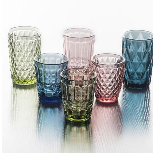Colorful Glass Embossed Wine Cup Retro Heat Resistant Water Cup Creative Wine Gl