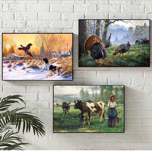 Canvas Art Oil Painting Country Landscape Farm Dog Bird Deer Cow Animals Wall Pi
