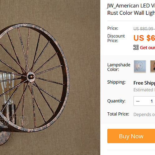 JW_American LED Vintage Industrial Wagon Wheel Iron Wall Lamps Rust Color Wall L