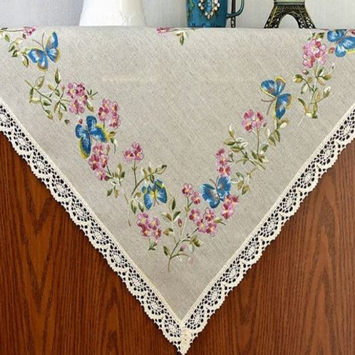 natural linen flower embroidery tablecloth Cup Mat Table Cover placemat for wedd