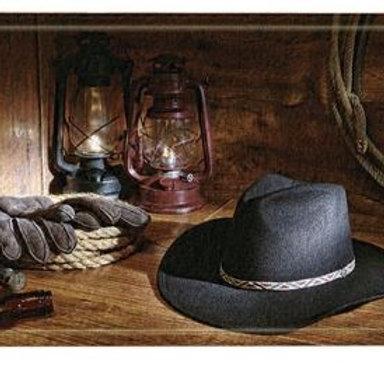 Western Barn Decor, American West Cowboy Hat and Lamp on Wooden Floor Bath Rugs,
