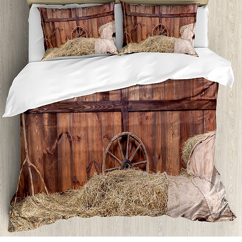 Barn Wood Wagon Wheel Duvet Cover Set Rural Old Horse Stable Barn Interior Hay a
