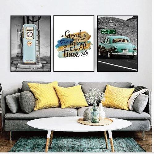 Canvas Art Prints Retro Painting Car Landscape Picture Home Decoration Office P