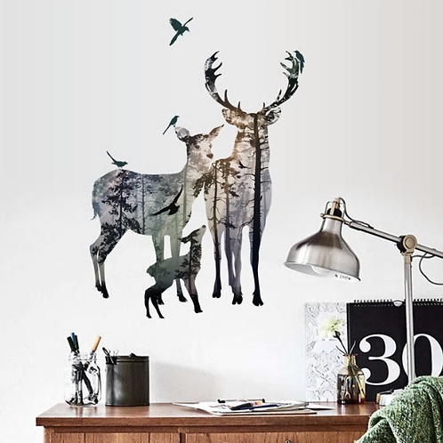 Creative forest deer silhouette wall stickers porch bedroom living room TV backg