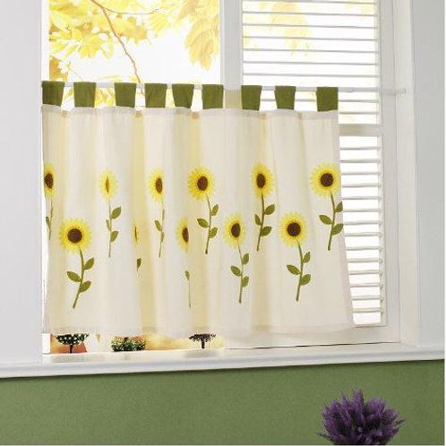 Pastoral Sunflower Thickened Curtain Kitchen Cafe Curtains Kitchen Curtain Door