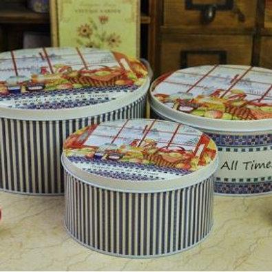 3pcs/set Round Metal Storage Afternoon Tea Time Printing Biscuit Tin Storage cas