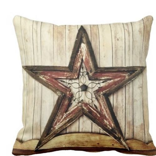 Throw Pillow Cover Wooden Rustic Country Western Star Barn Cabin Decorative Pill